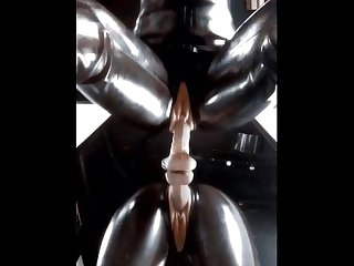 Latex catsuit dildo ridding