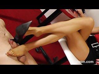 Secretary shoejob footjob with nylon
