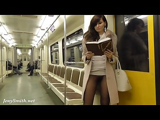 Jeny smith subway pussy Flash seamless pantyhose