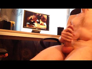 Solo handjob jerking cock masturbation with cum on porn