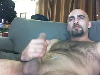 Handsome hairy jerk off cum