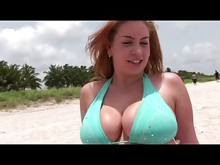 Redhead with massive natural tits fucks boyfriend