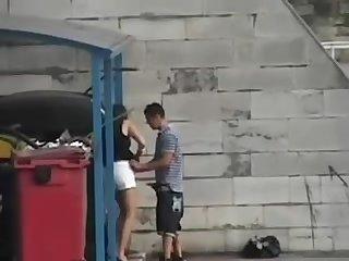 Public dumpster blowjob