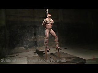 Muscled hunk vicious bondage