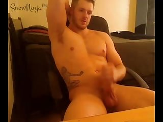 Tattoed gay pornstar creamy cumshot