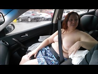 Guy watches my cute wife cum while blindfolded in the car