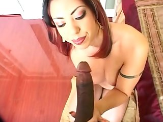 Latin babe sucks bbc swallowing with a smlie