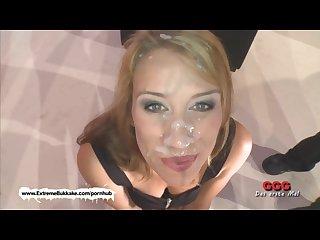 Extreme bukkake sexy Phoebe glazed