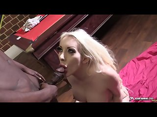 Pissing in blonde slut mouth while getting blowjob