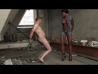 Black domina humiliates old sack