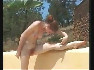 Sexy redhead salsa girl outdoor nude dance