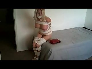 Tape gagged and rope tied