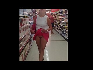 Exhibitionist wife shopping with no panties and flashing her pussy part 1