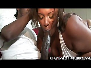 Amber swallows fat bbw black babe penetrated by long black pecker