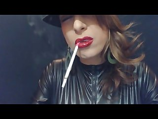 Smoking 120 S in leather after putting on bright red lipstick agentsexyhot