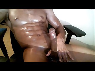 Hot black stud jerking and shooting huge load