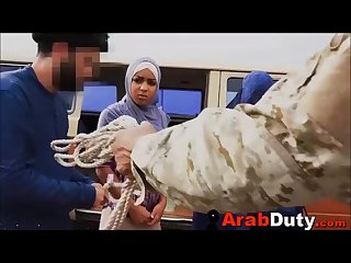 Big tits Arab pimped to white soldiers by goat herder