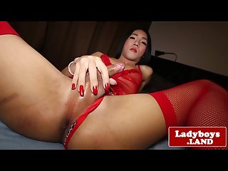 Lingerie ladyboy drops massive cream load