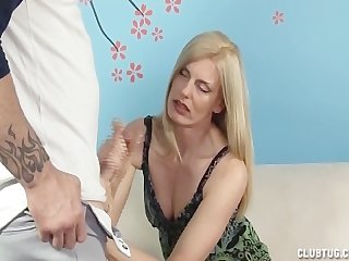 Horny milf jerks off her step son
