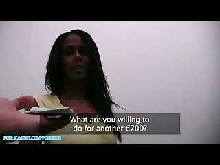 Publicagent Hd hot sexy black babe needs a lift and takes cash for sex