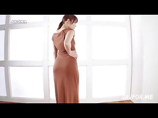 Asian in brown dress big booty teasing japanese