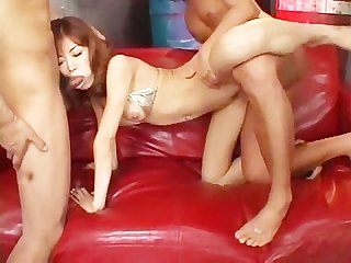 Two dudes banging an asian slut