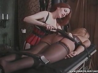 Tied blonde gets her big ass spanked hard