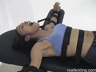 Ebony girl strapped down and tickled part 1