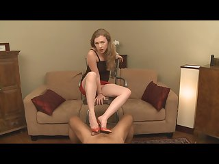 Shoejobs paraphilia mistress t cum dripping off red shoes