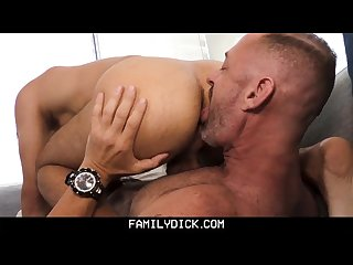 Familydick daddy has fun on couch
