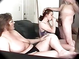 Daughter sucks while mommy smokes