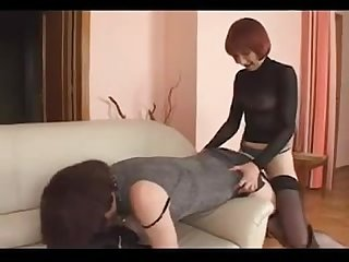 Sissy gets strapon punishment