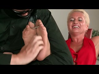 Foot tickled Sharon in nylon