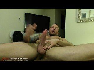 Hugh hunter strokes his giant cock at jockmenlive com