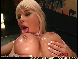 Cum on her tits and face