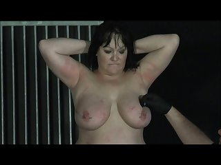 Chinas electro torture and needle bdsm of mature bbw slave slut in caddle