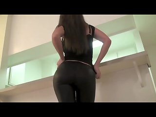 Leather look leggings tape gagged