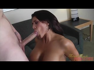 Female Muscle Pornstar Sucks a Huge Cock, Takes a Huge Load