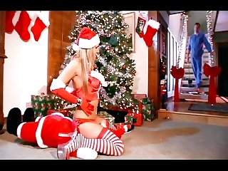 Blonde caught on christmas in sexy red thigh high stockings