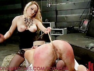 Pathetic slave boy has his balls punished
