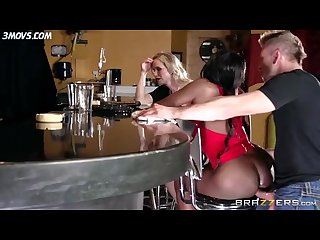 Diamond jackson casually chats with simone sonay while the bartender fucks