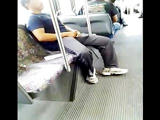 Mans dick hard on da bus