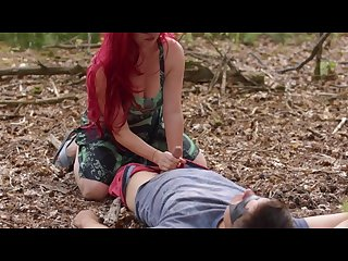 Poison ivy batman kiss and rides his cock to creampie on a forest lake