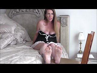 Pregnant milf Nikki makes you her foot slave