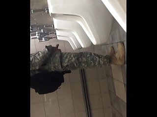 Spying big cock in public bathroom