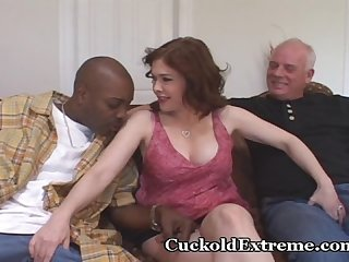 Red hairy muff stuffed with stranger s cock