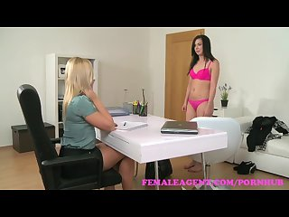 Femaleagent masturbating beauty gets agent wet with desire