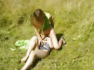 Lesbian catches girl in field by twistedworlds
