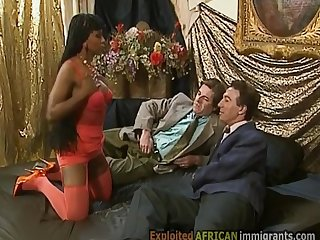 Gorgeous African immigrant has fun with 2 big white cocks