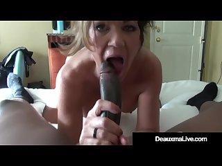 Busty cougar deauxma bangs a big black cock